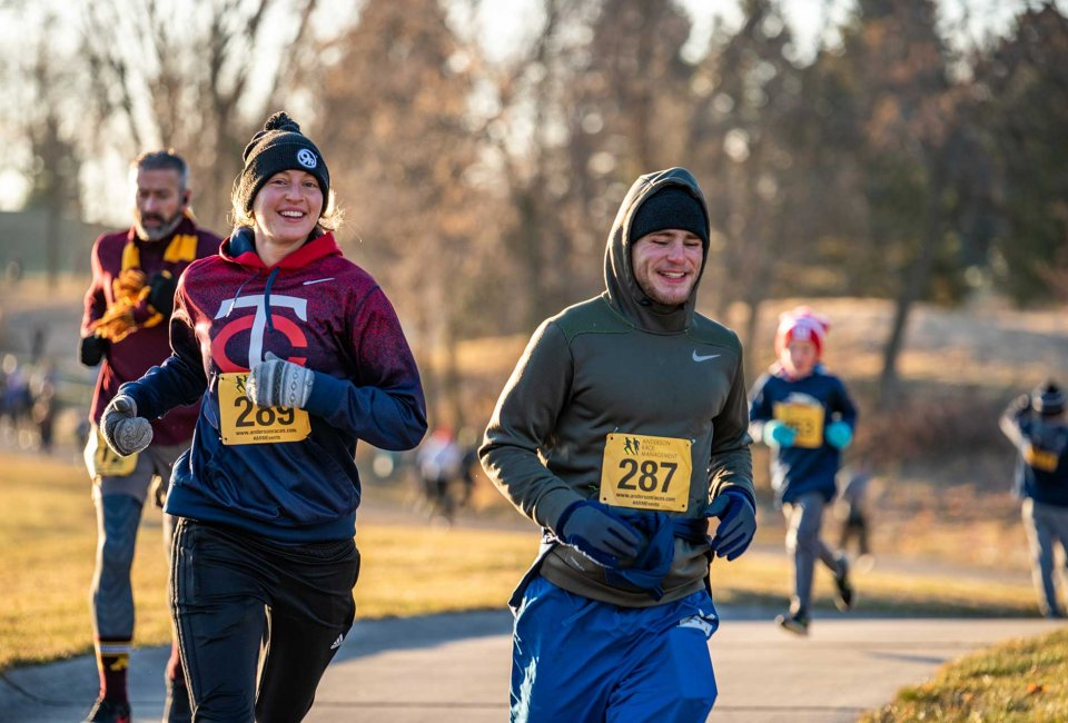 Runners smiling at the Turkey Trot 5K