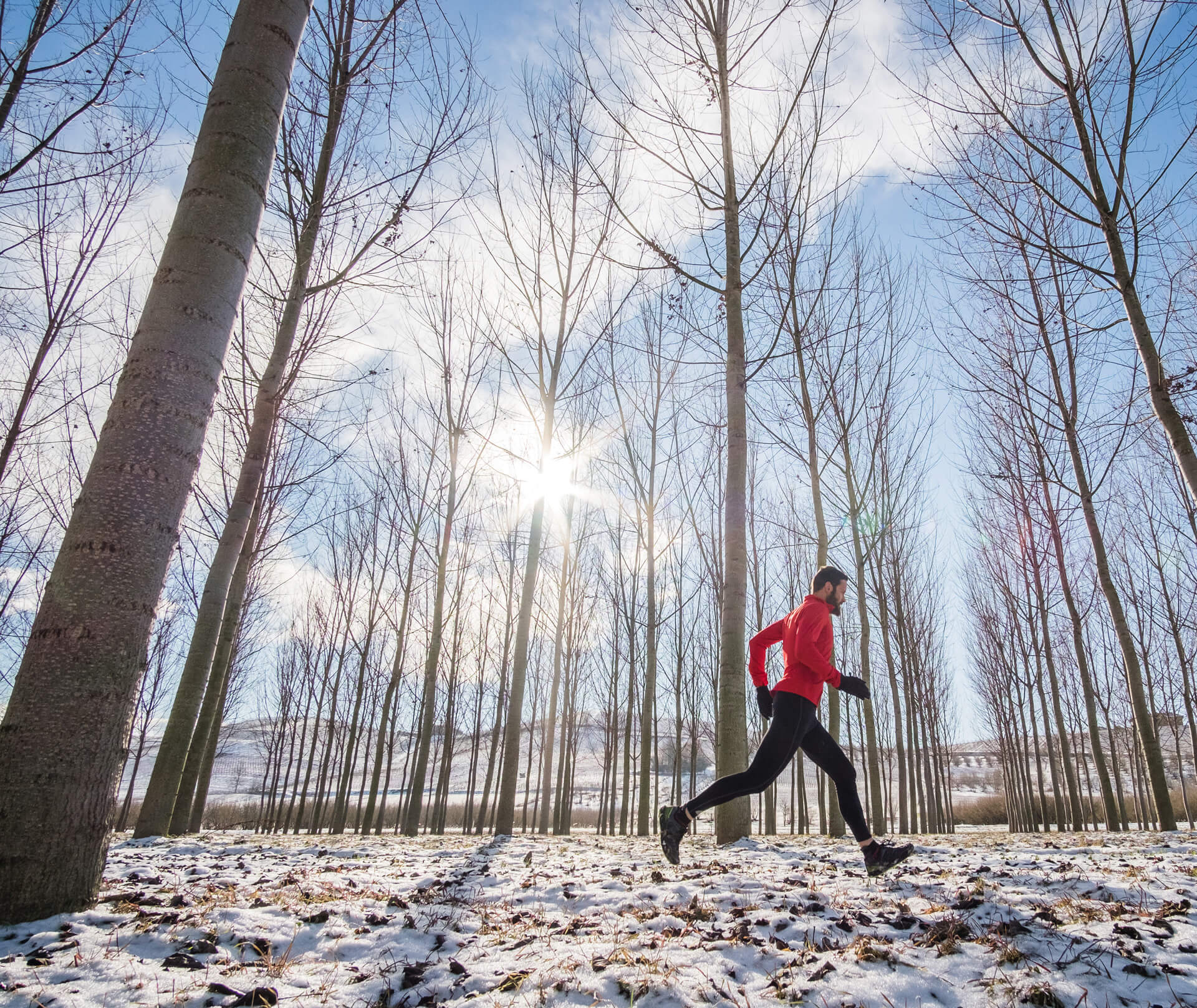 Man running or jogging in the winter