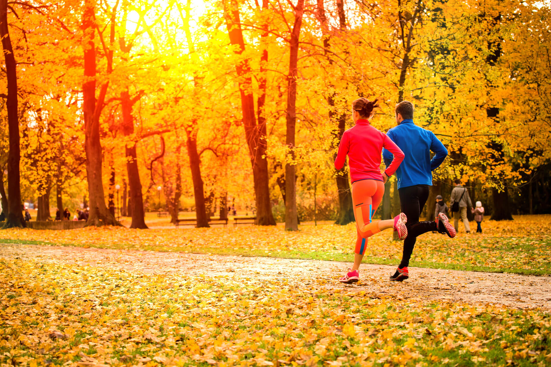 People running in the fall.